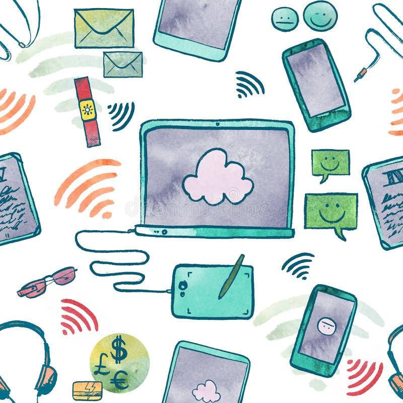 Ilustração da aquarela de dispositivos da tecnologia de comunicação ilustração do vetor
