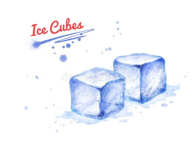Ilustração da aquarela de dois cubos de gelo ilustração royalty free