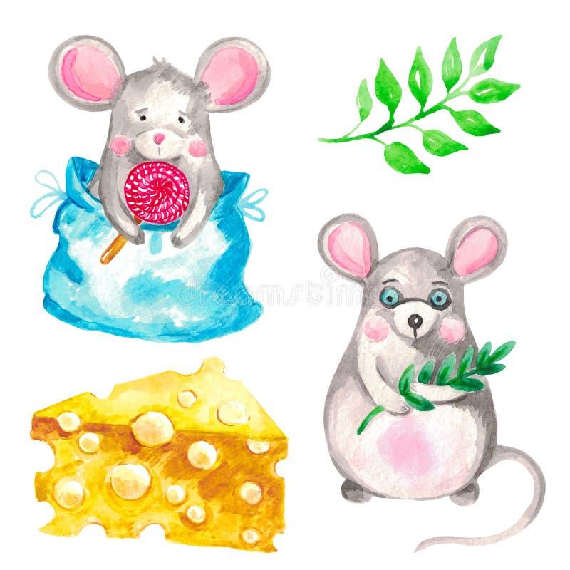 Ilustração da aquarela de um grupo dos ratos animais em um ramo verde isolado branco dos elementos adicionais do fundo e em uma p ilustração stock