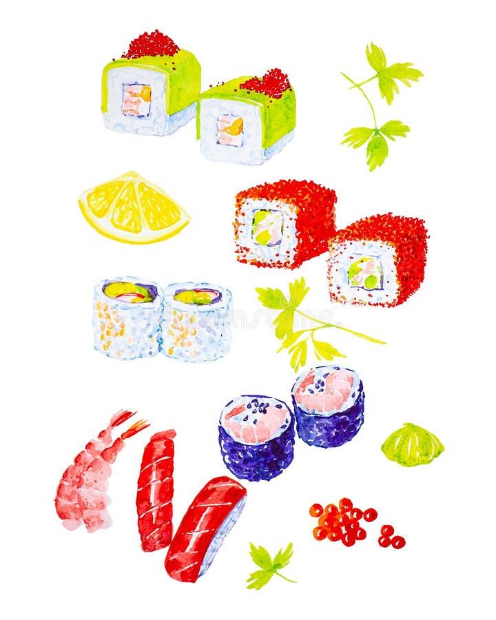 Ilustração da aquarela de um grupo de sushi e rolos, cal, camarões e ramo da manjericão Isolado no fundo branco foto de stock