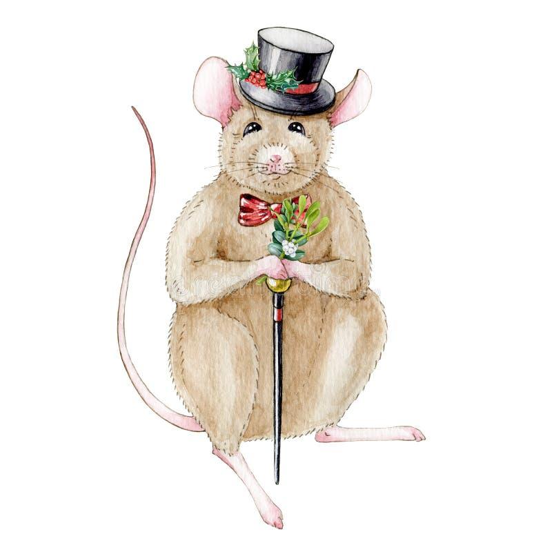 Ilustração da aquarela de um rato do rato em um chapéu engraçado decorado com folhas do azevinho e um bastão Isolado no fundo bra ilustração stock