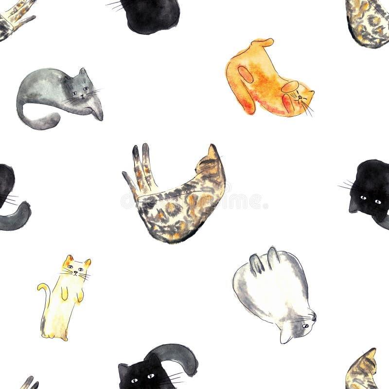 Ilustração da aquarela de um teste padrão sem emenda do gato ilustração stock