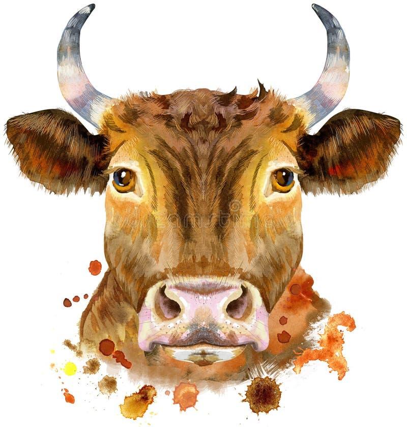 Ilustração da aquarela de um touro vermelho ilustração do vetor