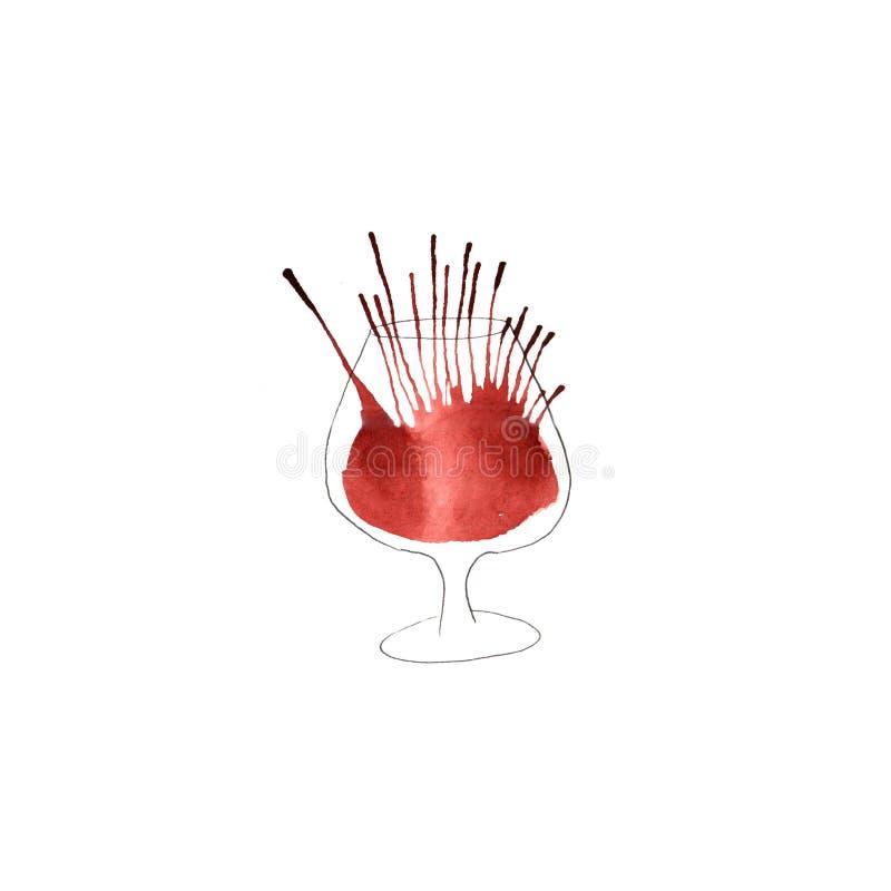 Ilustração da aquarela de um vidro ilustração royalty free
