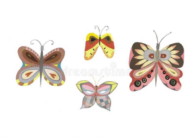 Ilustração da aquarela de uma borboleta isolada em um fundo branco Ajuste dos desenhos da borboleta ilustração do vetor
