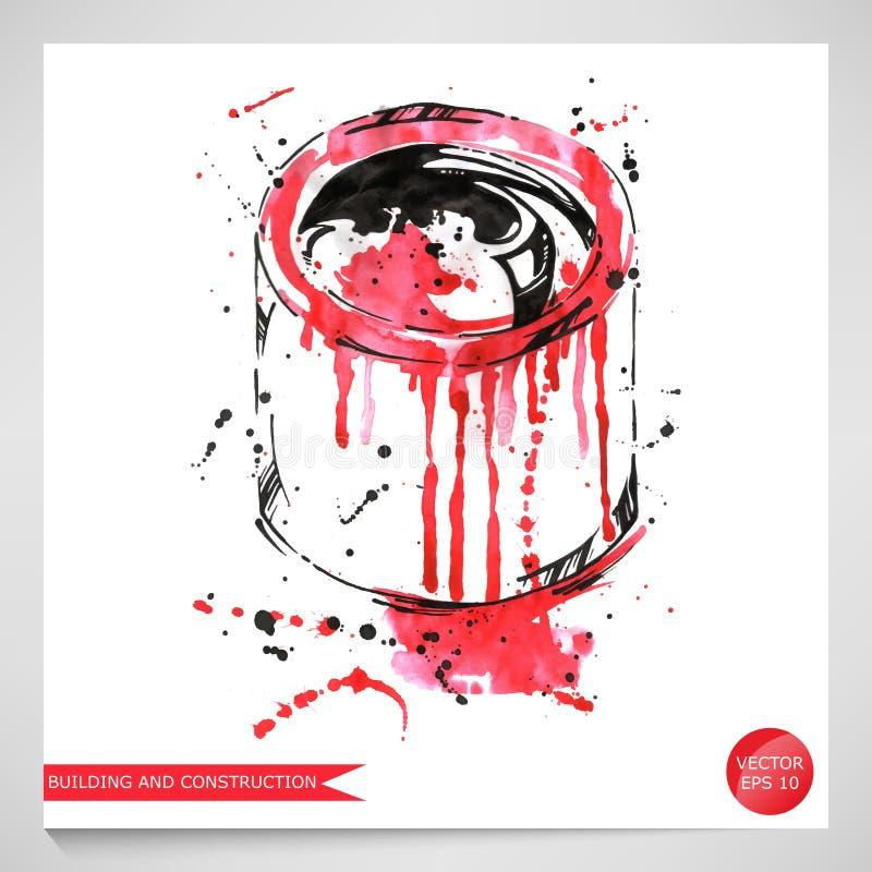 Ilustração da aquarela de uma lata da pintura Construção e repa ilustração royalty free