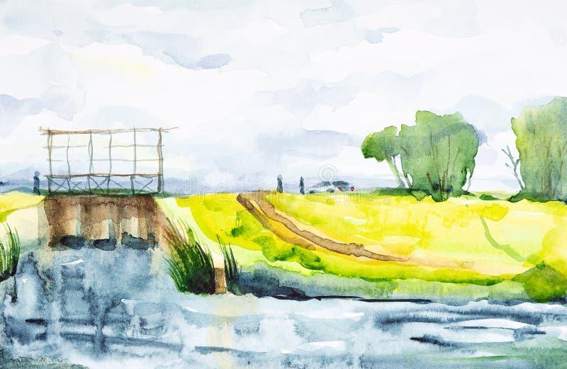 Ilustração da aquarela de uma represa com uma ponte Os povos saíram do carro e apreciam a vista bonita ilustração stock
