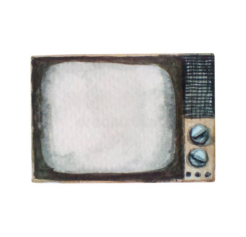 Ilustração da aquarela do aparelho de televisão retro velho do vintage, isolada no branco imagens de stock