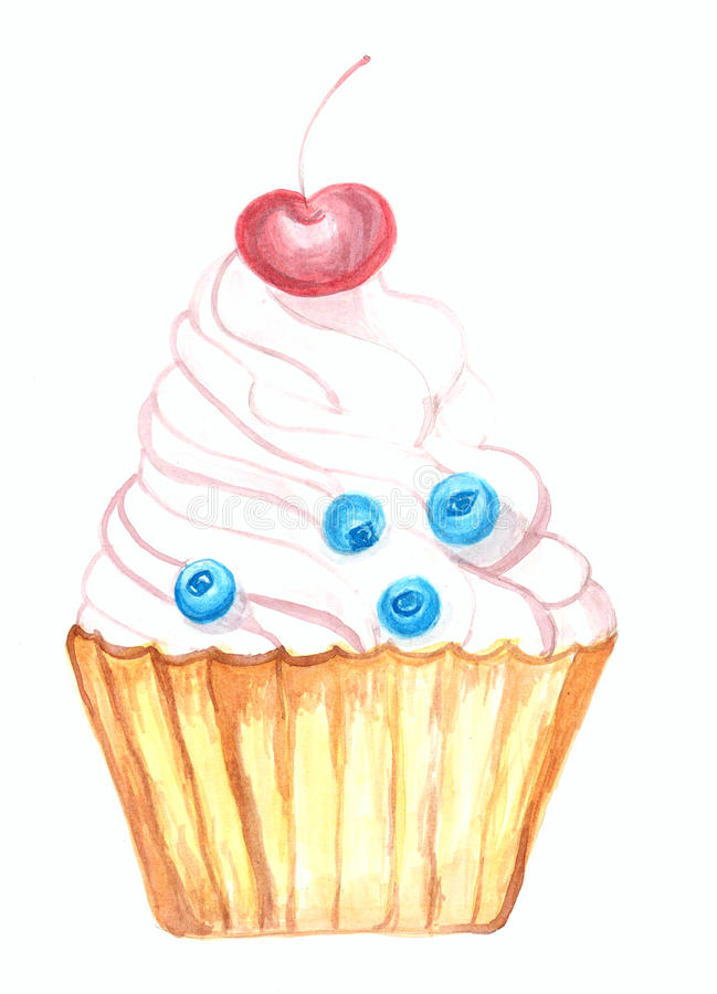 Ilustração da aquarela do bolo da sobremesa ilustração royalty free