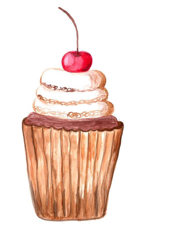 Ilustração da aquarela do bolo da sobremesa ilustração do vetor