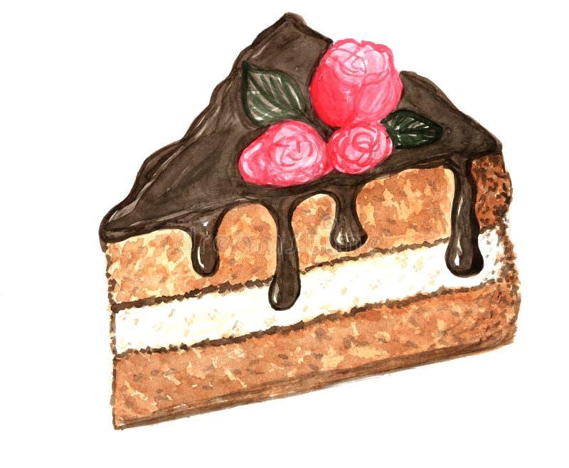 Ilustração da aquarela do bolo da sobremesa ilustração stock