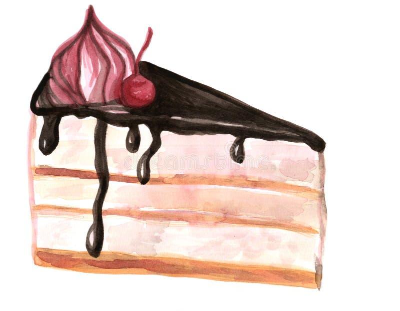 Ilustração da aquarela do bolo da sobremesa, torta saboroso ilustração stock