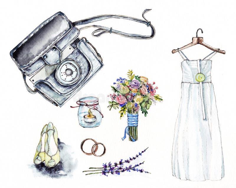Ilustração da aquarela do casamento ilustração stock