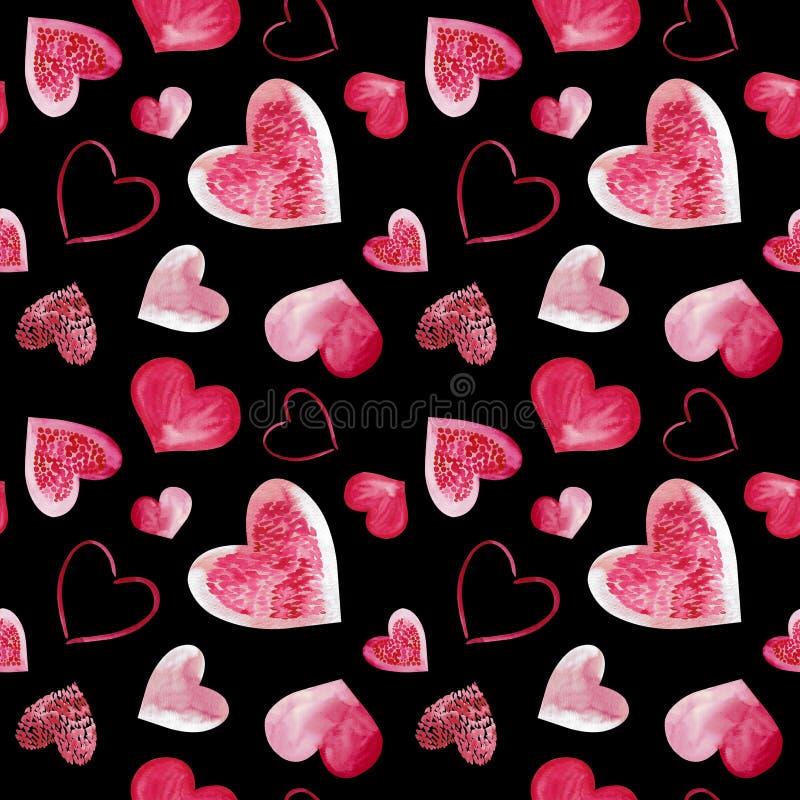 Ilustração da aquarela do fundo cor-de-rosa dos corações do amor Teste padrão sem emenda isolado no fundo preto imagens de stock