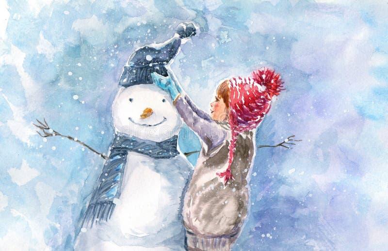 Ilustração da aquarela do inverno ilustração do vetor