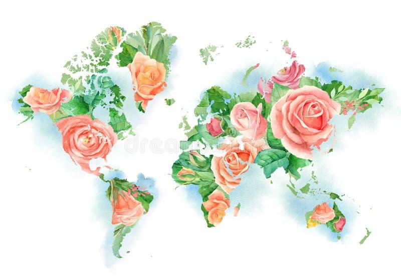 Ilustração da aquarela do mapa do mundo nas flores O molde para DIY projeta-se, convites do casamento, cartões, logotipos, cartaz ilustração do vetor