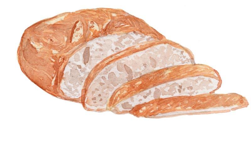Ilustração da aquarela do pão de Ciabatta imagens de stock