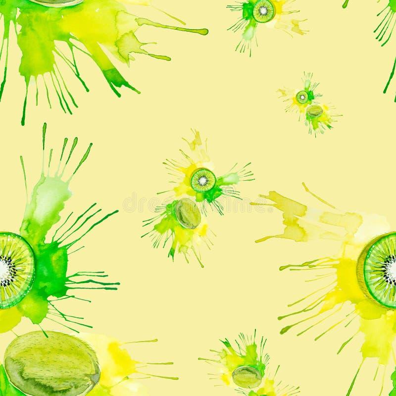 Ilustração da aquarela do quivi no respingo do suco isolado em um fundo amarelo Teste padrão sem emenda ilustração royalty free