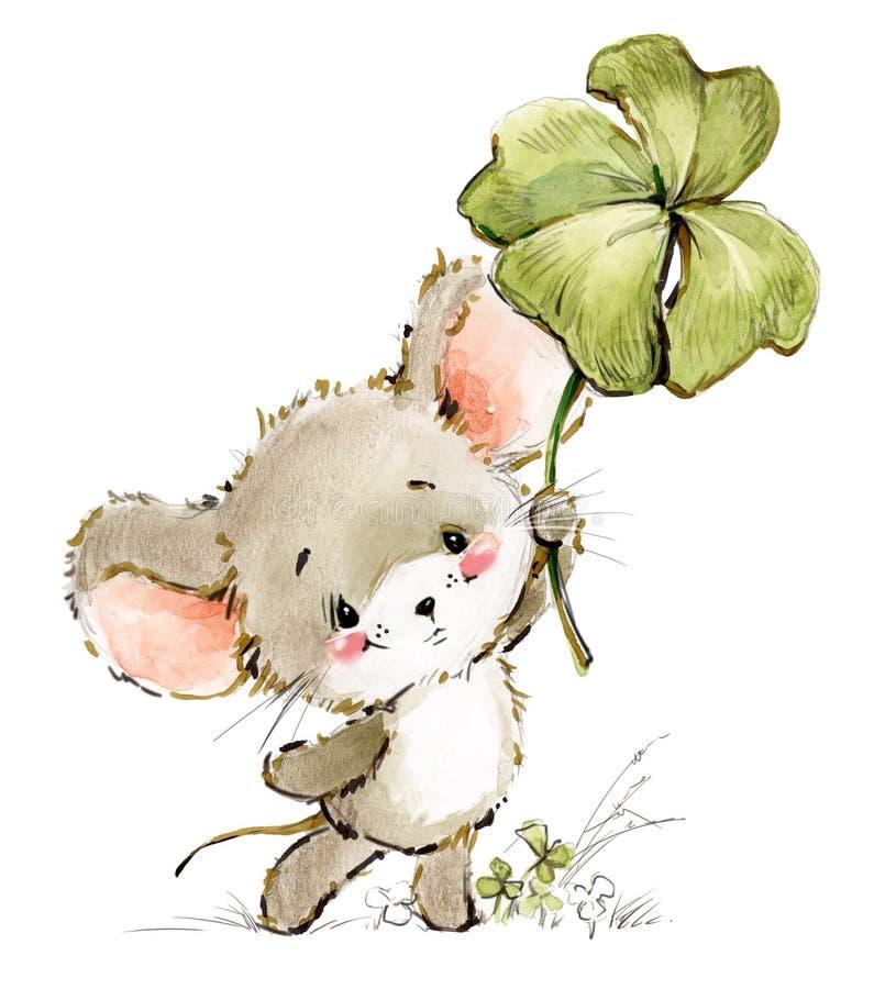 Ilustração da aquarela do rato dos desenhos animados Ratos bonitos ilustração do vetor