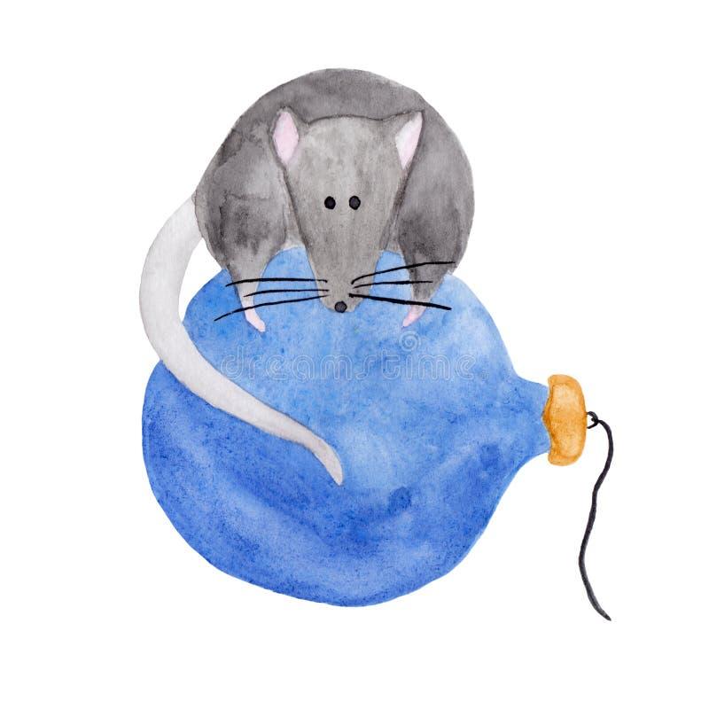 Ilustração da aquarela do rato do Natal que encontra-se em um ornamento azul ilustração stock