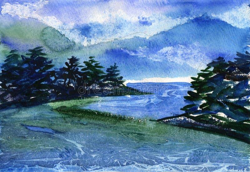 Ilustração da aquarela do rio da montanha ilustração royalty free