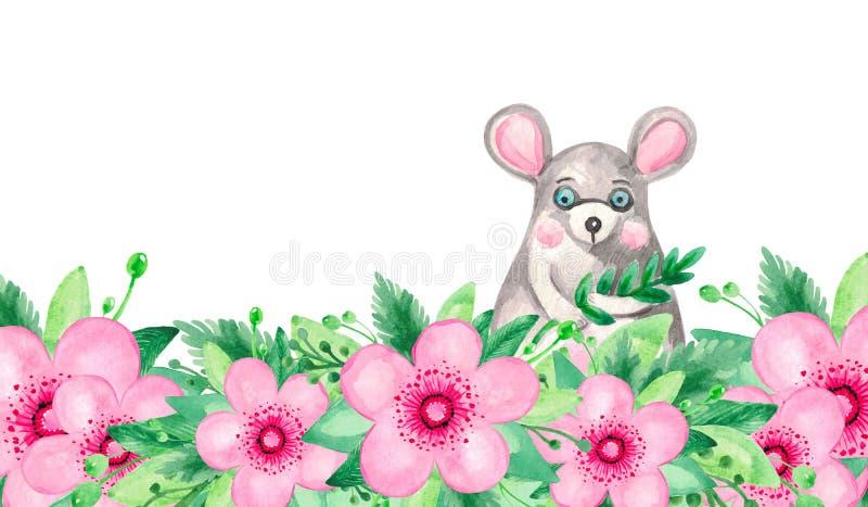 A ilustra??o da aquarela do verde de floresc?ncia cor-de-rosa vermelho da haste da cereja deixa o grupo floral no fundo branco ilustração royalty free