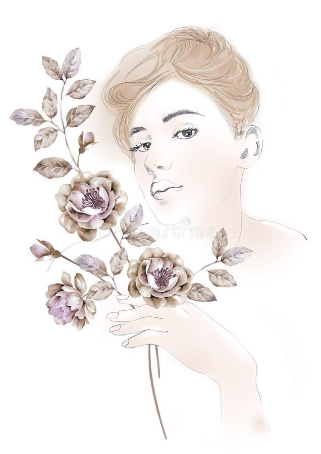 A ilustração da aquarela floresce e retrato da mulher bonita no fundo simples ilustração do vetor
