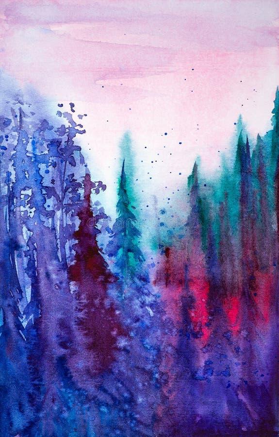 Ilustração da aquarela da floresta no por do sol ilustração royalty free