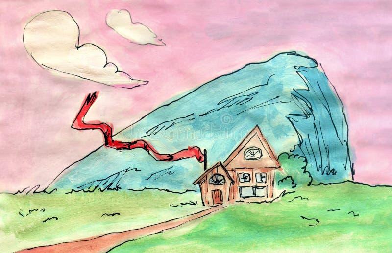 Ilustração da aquarela: Metade do abacate com ilustração do seedWatercolor Uma casa pelo penhasco, ondulação longa da bandeira ve ilustração royalty free
