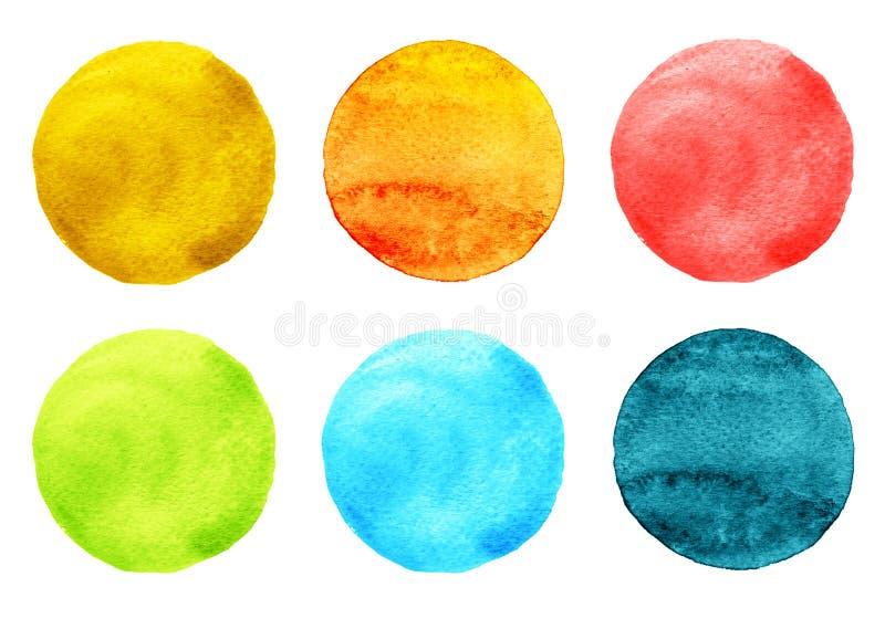 Ilustração da aquarela para o projeto artístico Manchas redondas, gotas de cores azuis, cor-de-rosa, alaranjadas, vermelhas, verd ilustração stock