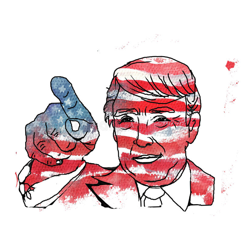 Ilustração da aquarela que mostra Donald Trump republicano ilustração do vetor