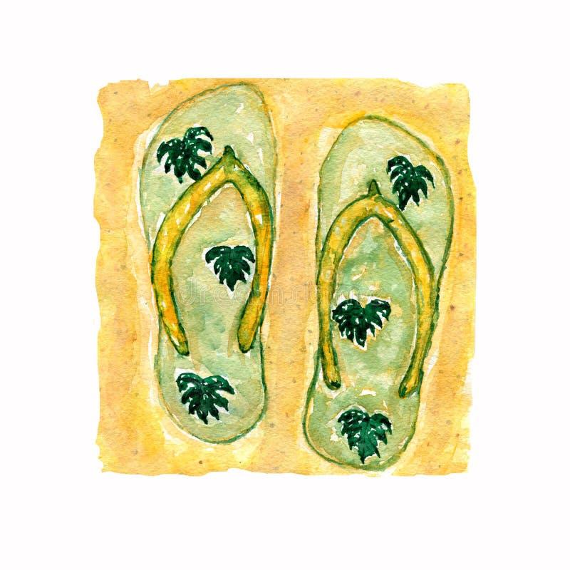 Ilustração da aquarela, sapatas lisas verdes tiradas mão dos deslizadores, sandálias do falhanço de aleta com as folhas do monste ilustração do vetor