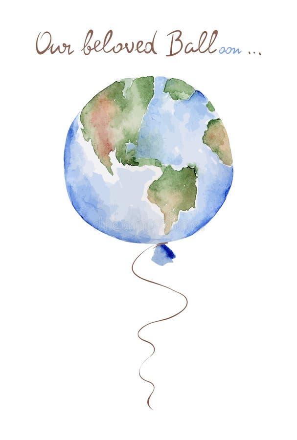 Ilustração da aquarela -- Terra do balão ilustração do vetor
