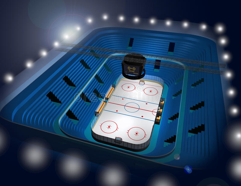 Ilustração da arena 3D do estádio do hóquei em gelo ilustração stock