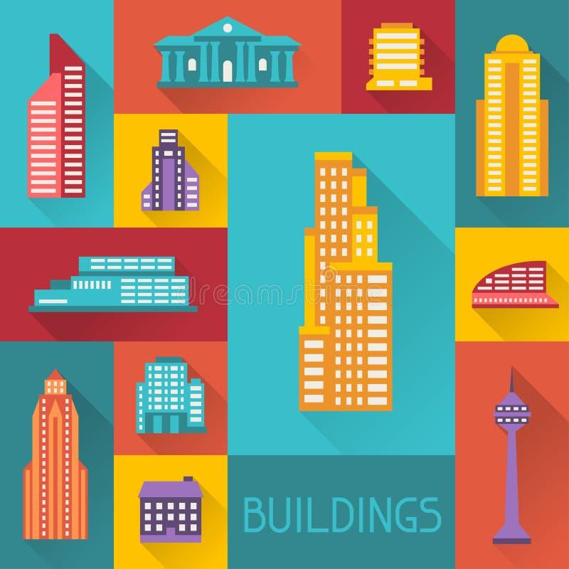 Ilustração da arquitetura da cidade com construções no plano ilustração do vetor