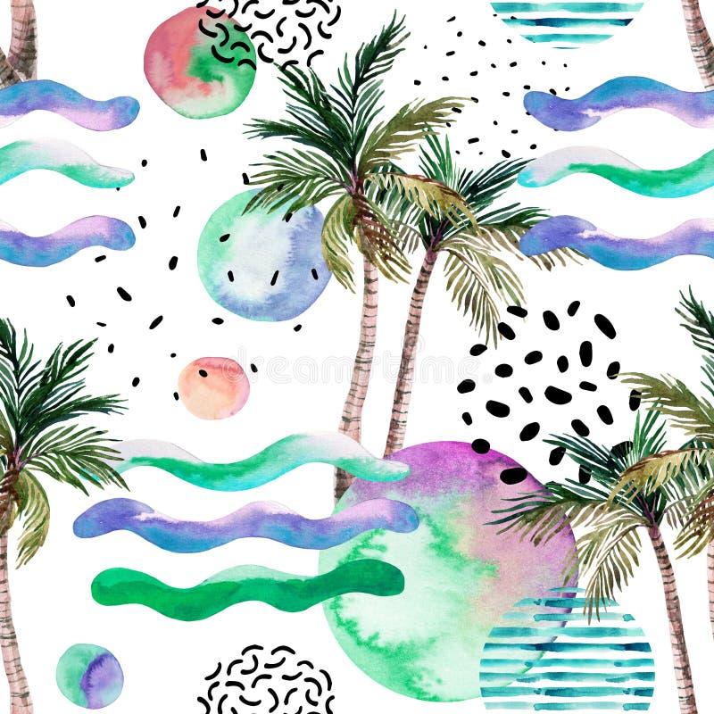 Ilustração da arte da aquarela: palmeira, garatuja, texturas do grunge, formas geométricas em 80s, estilo 90s mínimo ilustração royalty free