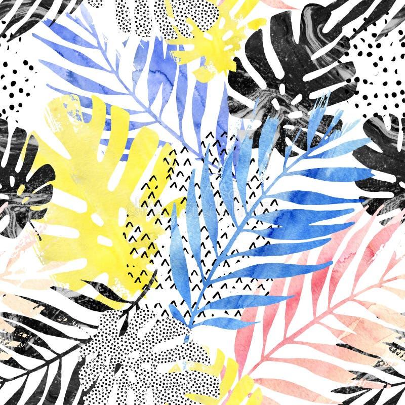 Ilustração da arte: as folhas tropicais na moda encheram-se com a textura do mármore do grunge da aquarela, fundo dos elementos d ilustração royalty free
