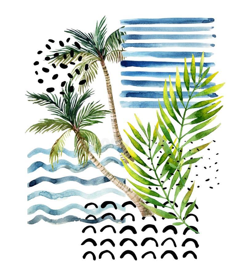 Ilustração da arte com palmeira, folhas de palmeira, garatuja, ilustração do vetor