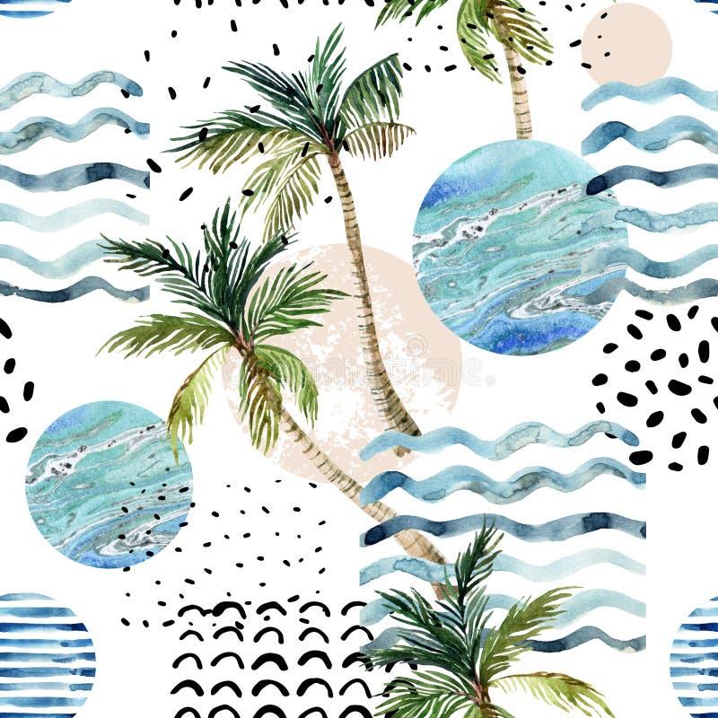 Ilustração da arte com palmeira, garatuja e texturas do grunge do mármore ilustração royalty free