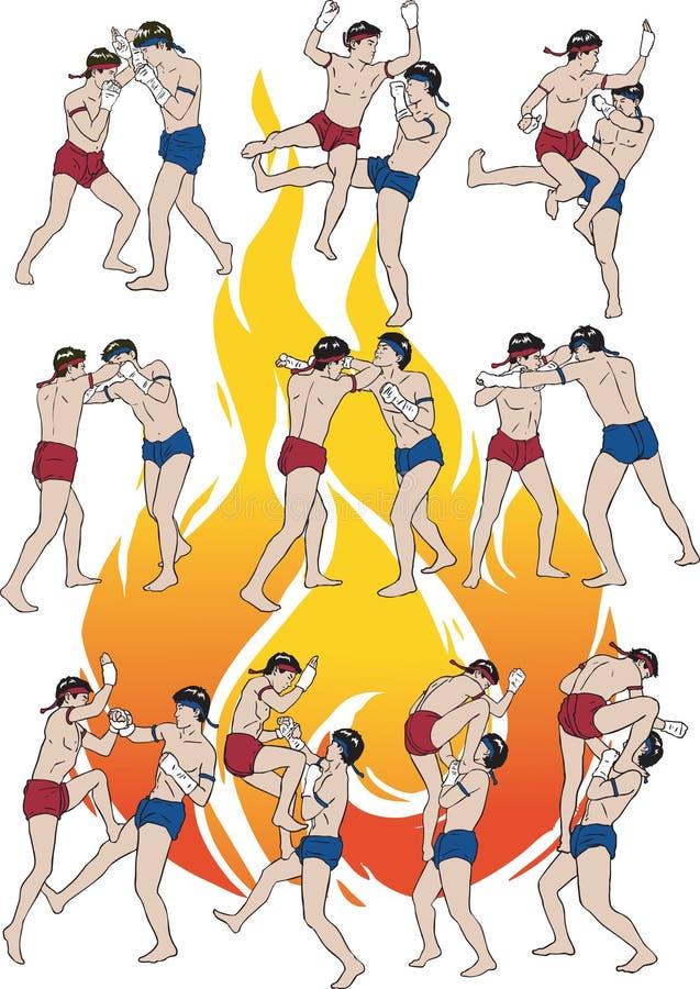 Download A Ilustração Tailandesa Da Arte Marcial De Muay Ajustou 02 Ilustração do Vetor - Ilustração de perigoso, mãos: 29839605