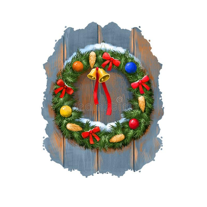 Ilustração da arte de Digitas da grinalda da decoração da porta da árvore de Natal com sinos, cones, fita Feliz Natal, ano novo f ilustração do vetor