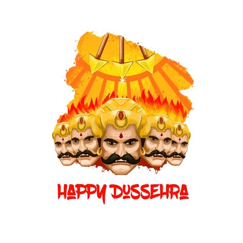 Ilustração da arte de Digitas para o feriado indiano Vijayadashami Escrita feliz de Dussehra Demônio mau Ravana com suas cabeças  ilustração stock