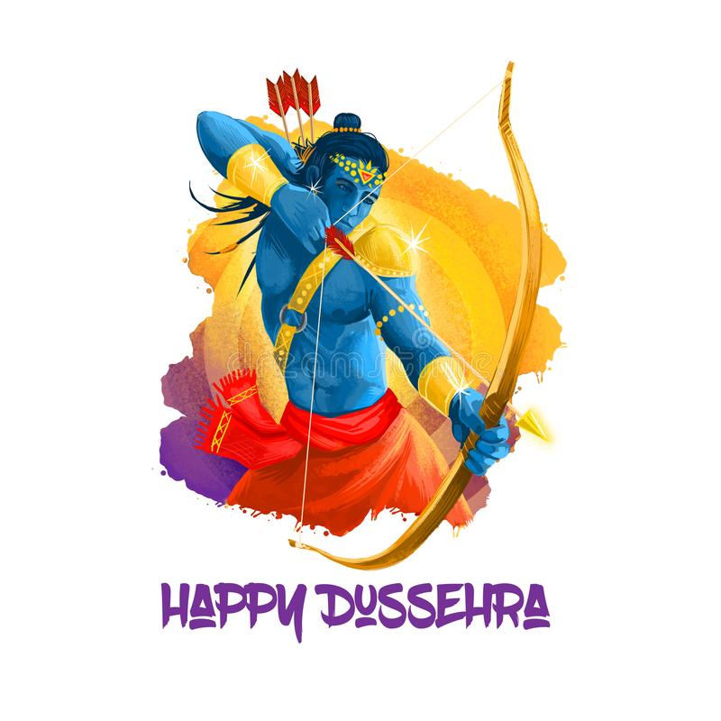 Ilustração da arte de Digitas para o feriado indiano Vijayadashami Escrita feliz de Dussehra Deus Rama com curva, setas Dasara hi ilustração do vetor