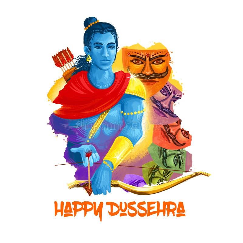 Ilustração da arte de Digitas para o feriado indiano Vijayadashami Escrita feliz de Dussehra Deus Rama com curva, setas Demônio m ilustração do vetor
