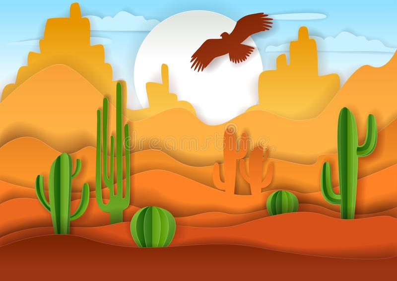 Ilustração da arte do papel do vetor da paisagem do deserto ilustração stock