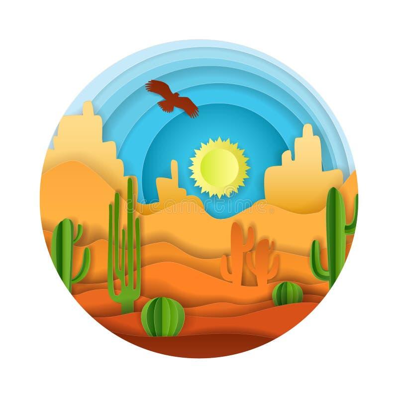 Ilustração da arte do papel do vetor da paisagem do deserto ilustração royalty free