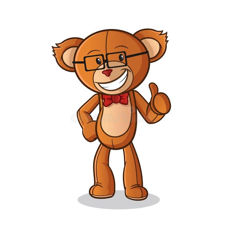 Ilustração da arte dos desenhos animados do vetor da mascote do totó da boneca do urso de peluche ilustração stock
