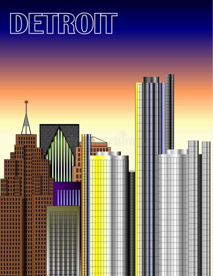 Ilustração da baixa de Detroit ilustração stock