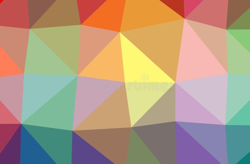 Ilustração da baixa laranja poli do sumário, fundo horizontal verde, azul, amarelo, vermelho ilustração do vetor