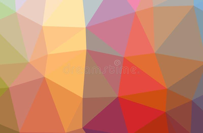 Ilustração da baixa laranja poli do sumário, fundo horizontal verde, azul, amarelo, vermelho ilustração royalty free